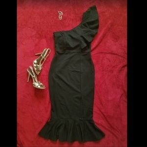 LBD One Shoulder Ruffle Fitted Dress